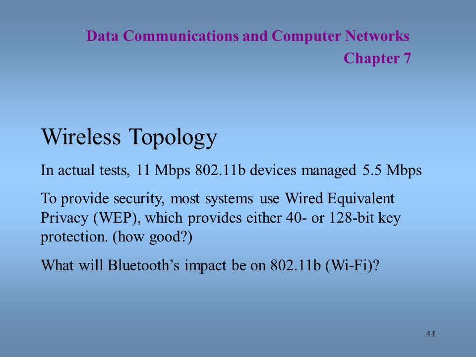 Wireless Topology Data Communications and Computer Networks