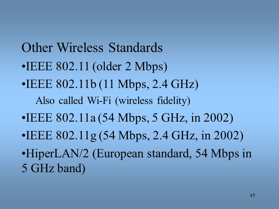 Other Wireless Standards