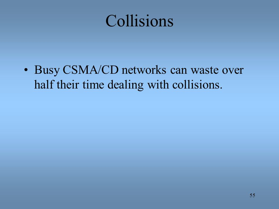 Collisions Busy CSMA/CD networks can waste over half their time dealing with collisions.