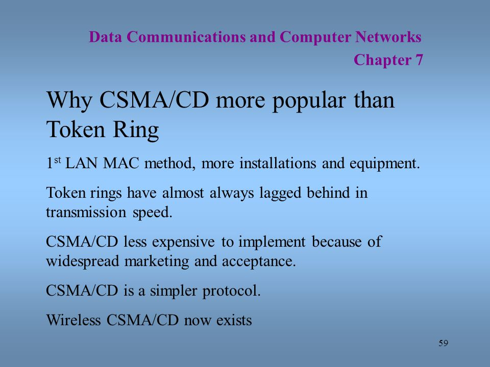 Why CSMA/CD more popular than Token Ring