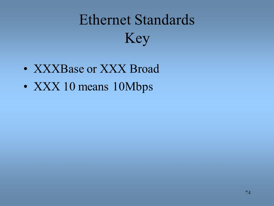 Ethernet Standards Key