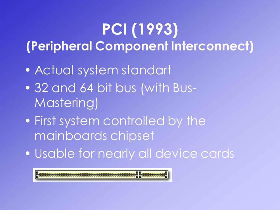 PCI (1993) (Peripheral Component Interconnect)