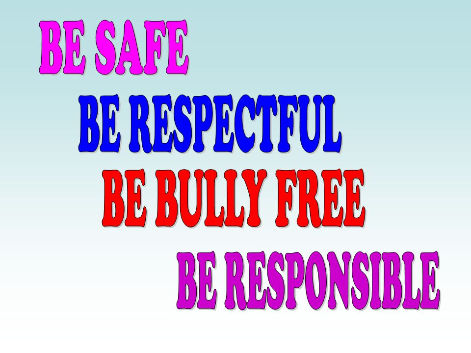 BE SAFE BE RESPECTFUL BE BULLY FREE BE RESPONSIBLE