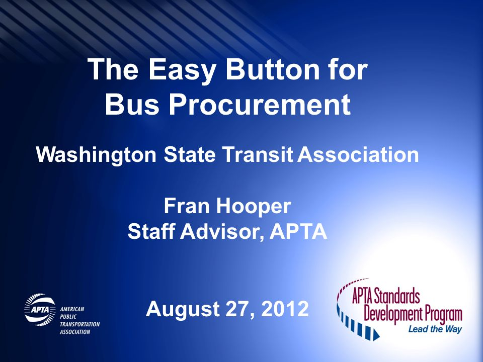 Bus Procurement Washington State Transit Association