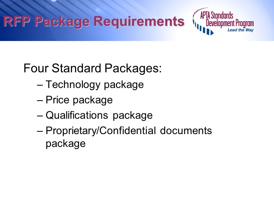 RFP Package Requirements