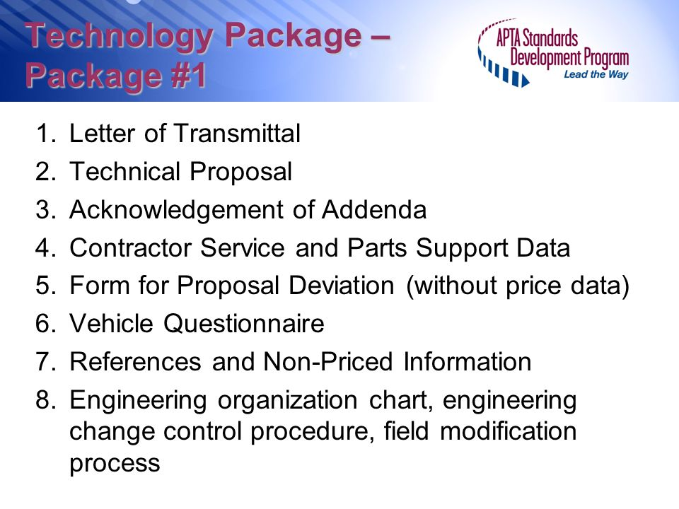 Technology Package – Package #1