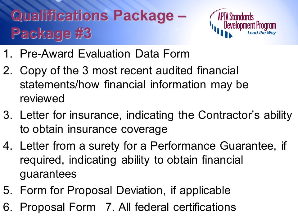 Qualifications Package – Package #3