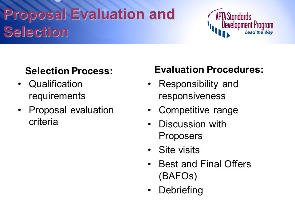 Proposal Evaluation and Selection