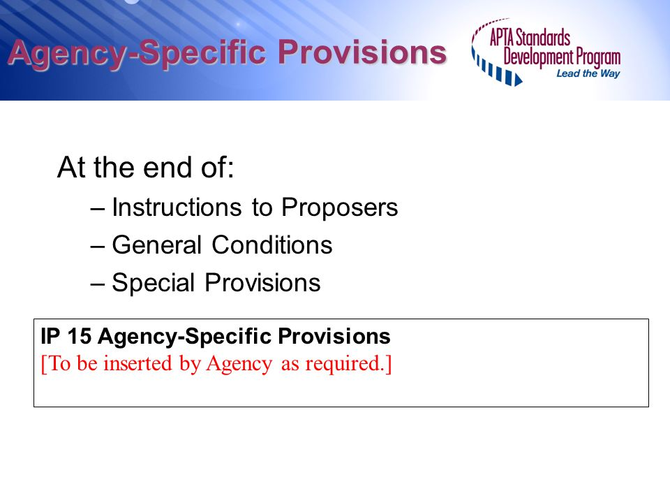 Agency-Specific Provisions