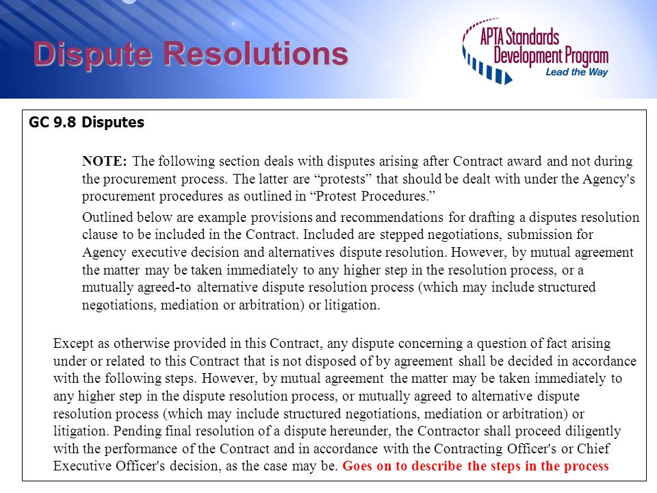 Dispute Resolutions GC 9.8 Disputes