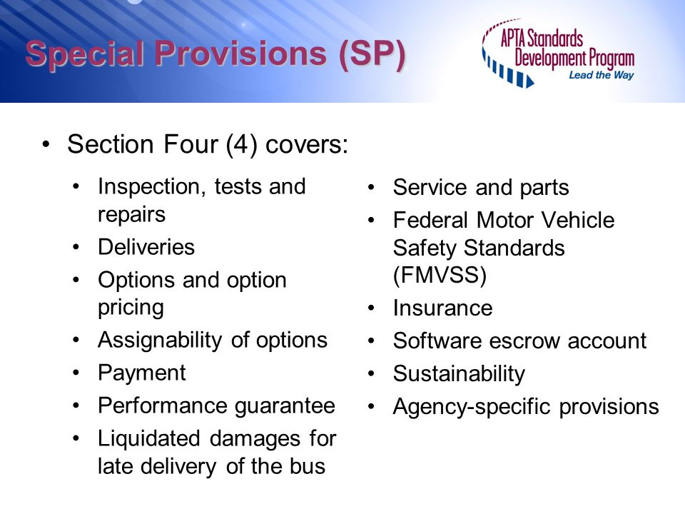 Special Provisions (SP)