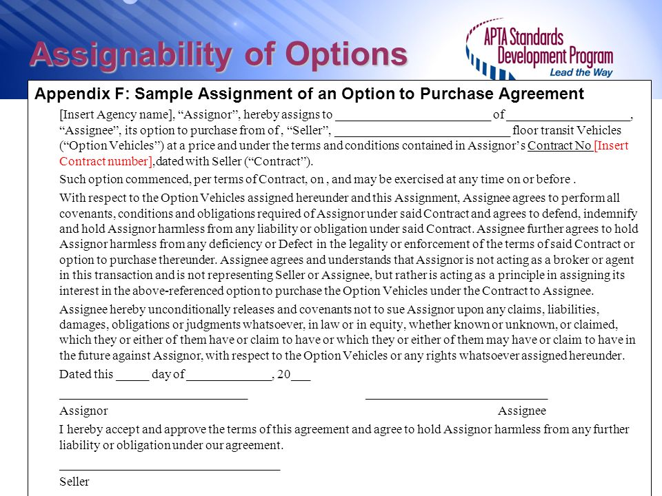 Assignability of Options