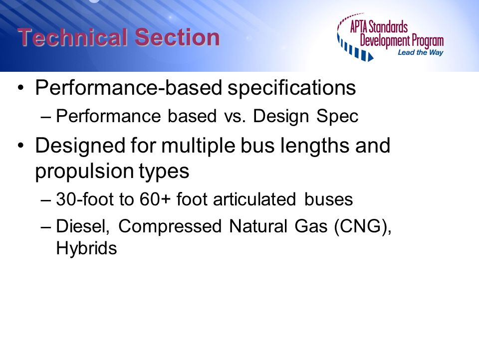 Technical Section Performance-based specifications