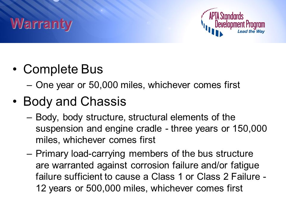 Warranty Complete Bus Body and Chassis