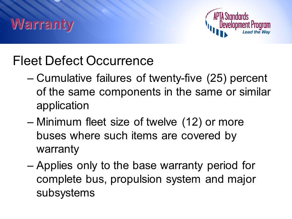 Warranty Fleet Defect Occurrence