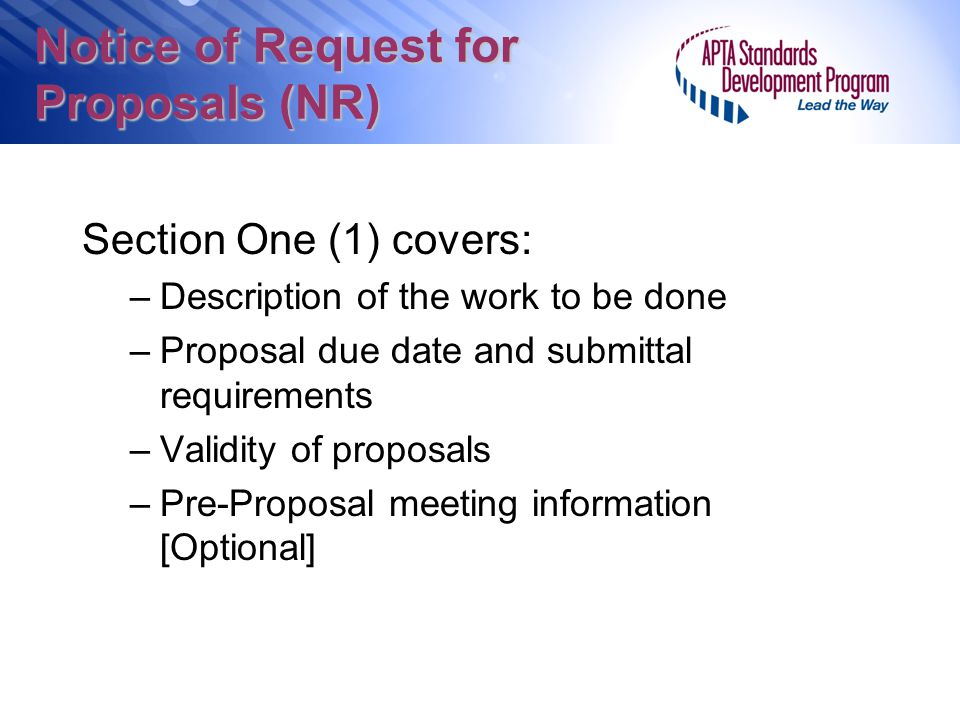 Notice of Request for Proposals (NR)