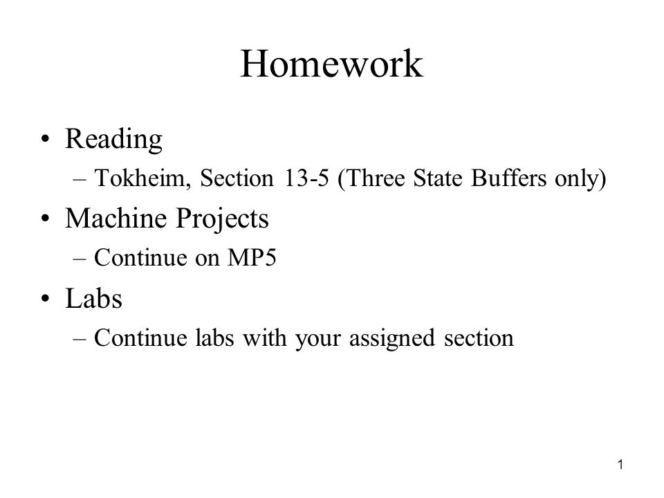 Homework Reading Machine Projects Labs