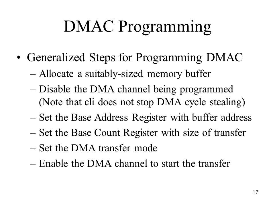 DMAC Programming Generalized Steps for Programming DMAC