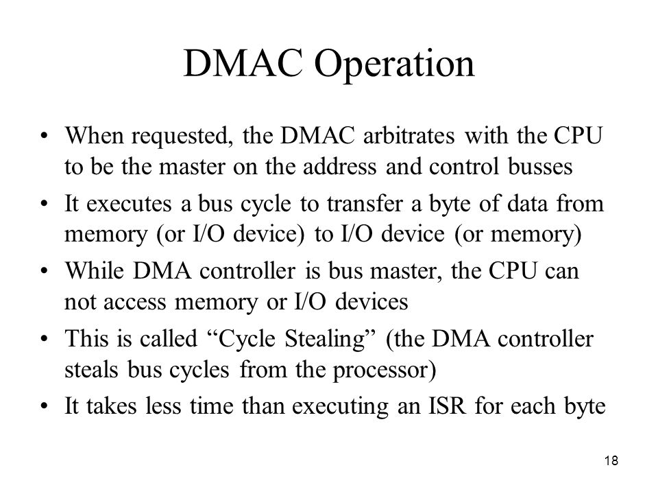 DMAC Operation When requested, the DMAC arbitrates with the CPU to be the master on the address and control busses.