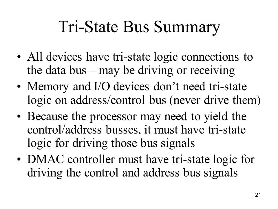 Tri-State Bus Summary All devices have tri-state logic connections to the data bus – may be driving or receiving.