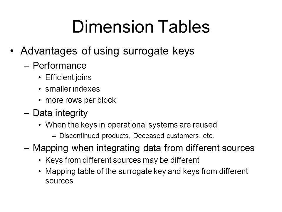 Dimension Tables Advantages of using surrogate keys Performance