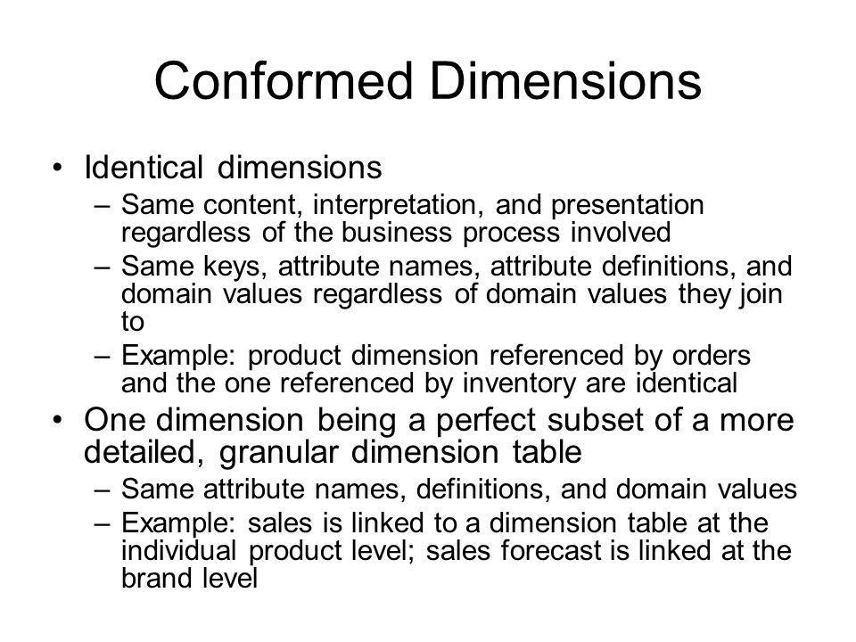 Conformed Dimensions Identical dimensions