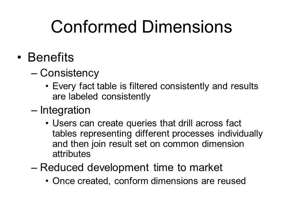Conformed Dimensions Benefits Consistency Integration