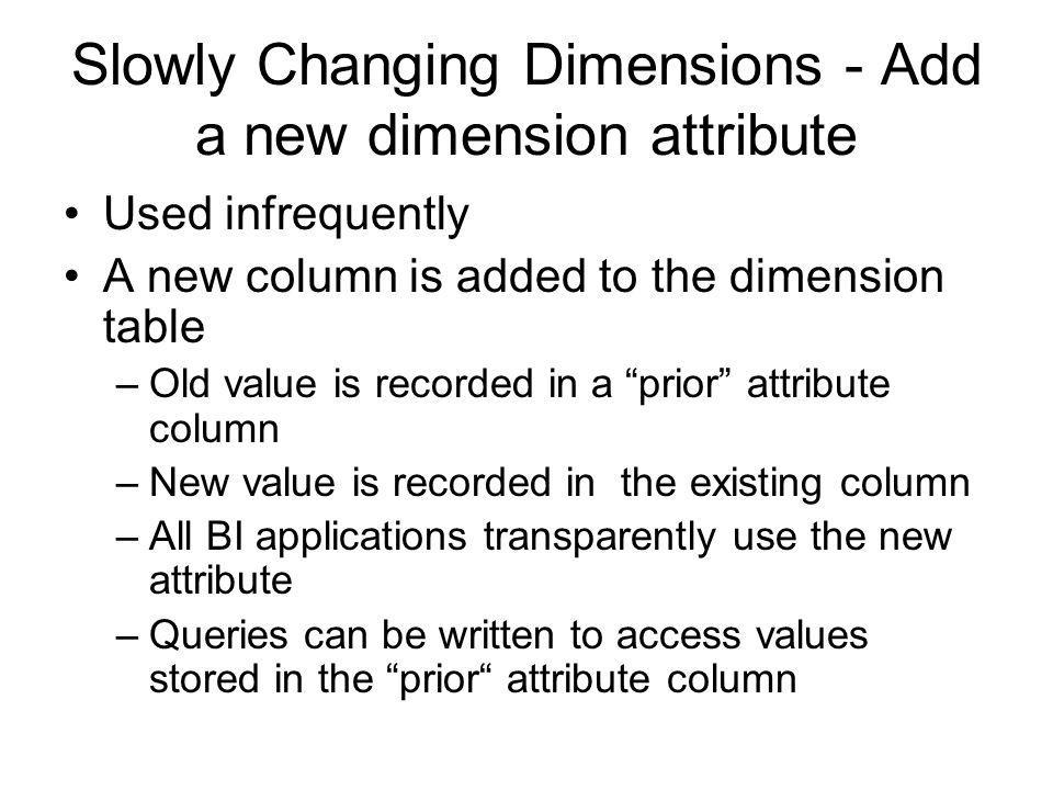 Slowly Changing Dimensions - Add a new dimension attribute