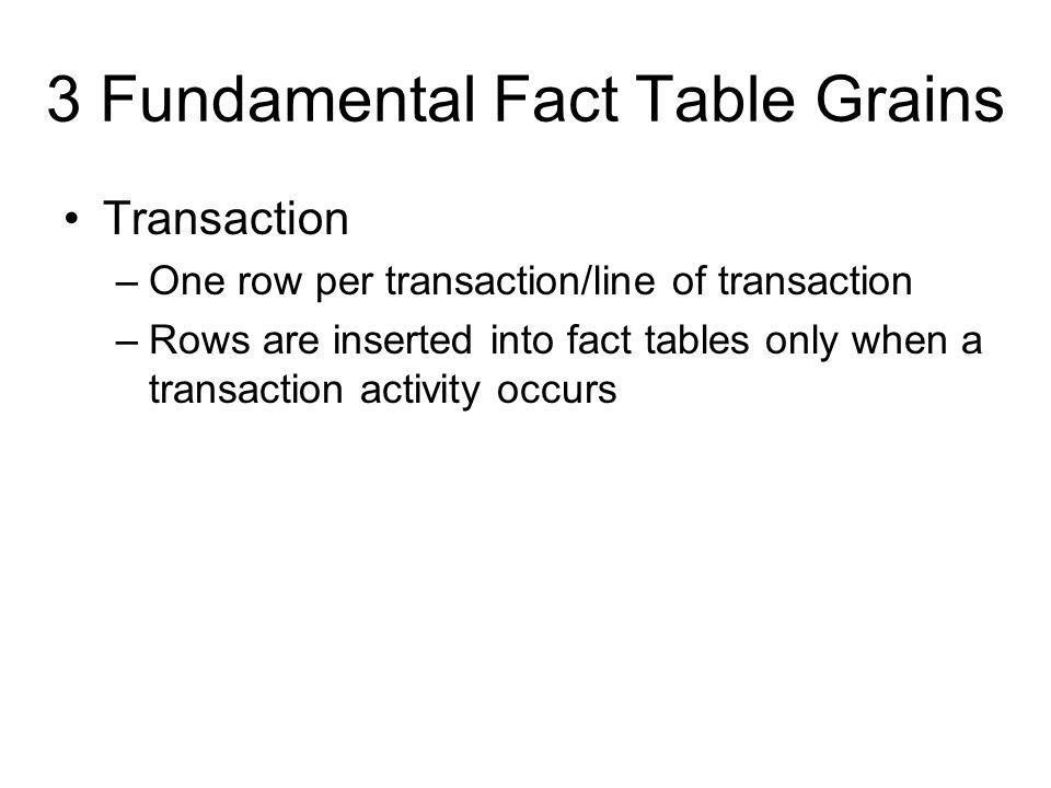 3 Fundamental Fact Table Grains