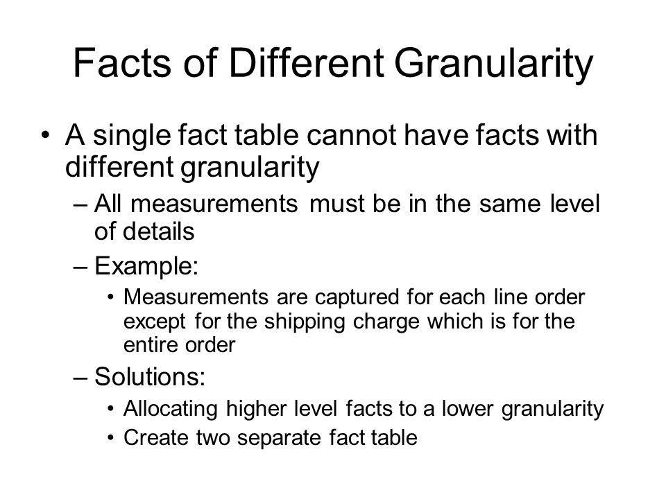 Facts of Different Granularity