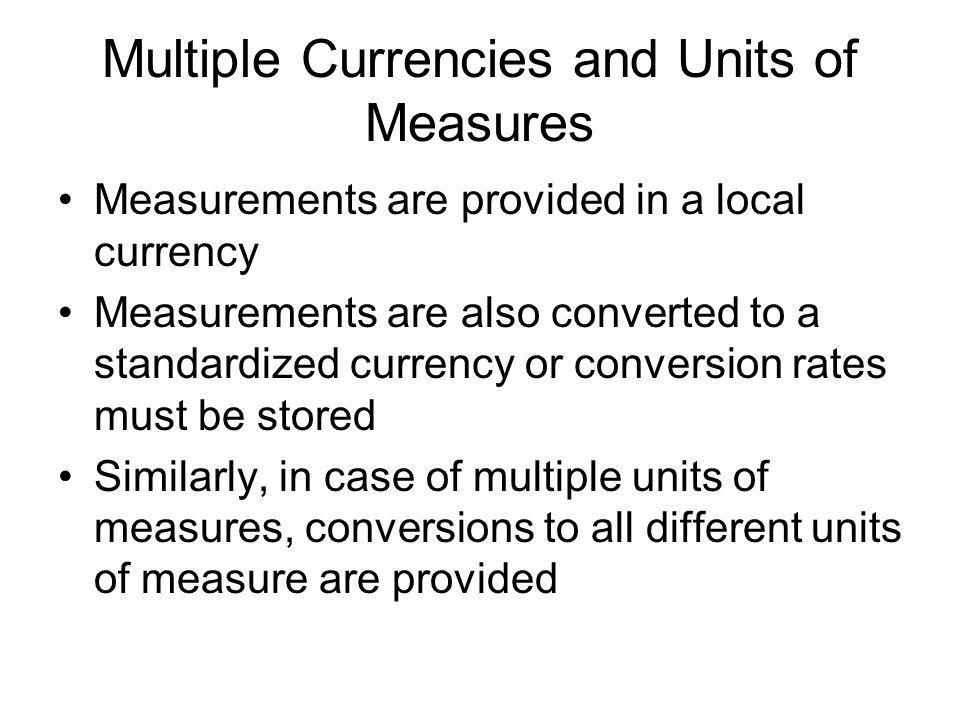Multiple Currencies and Units of Measures
