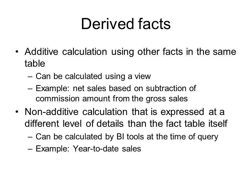 Derived facts Additive calculation using other facts in the same table
