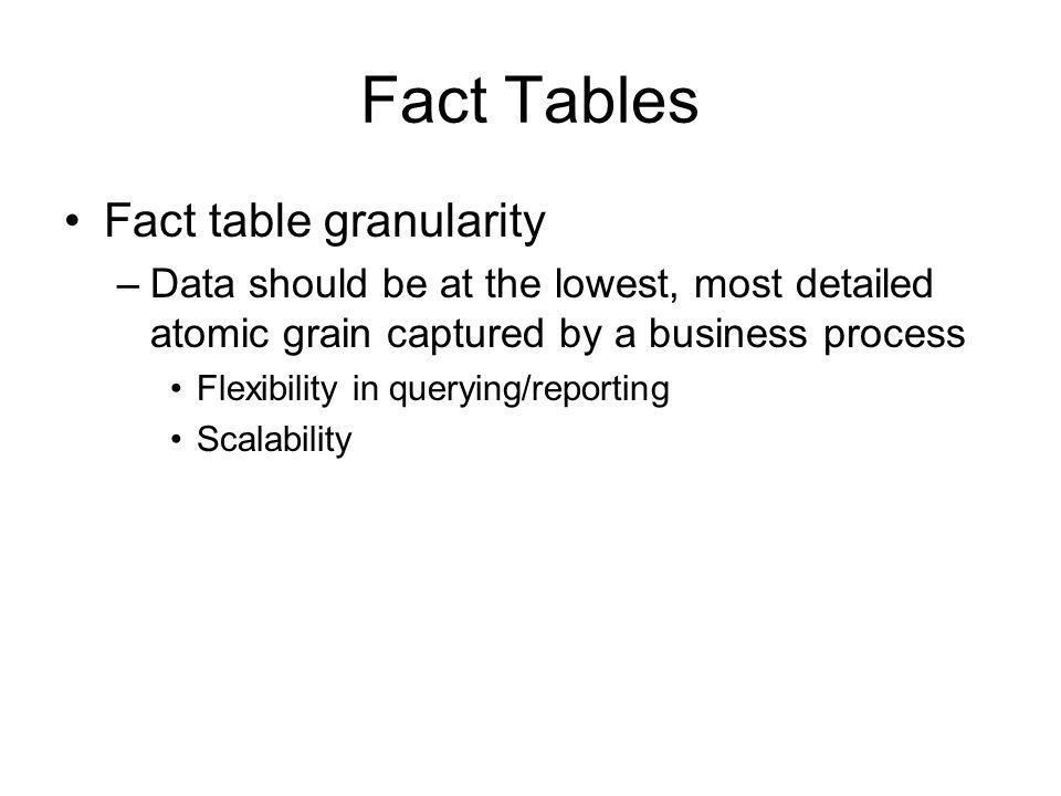 Fact Tables Fact table granularity