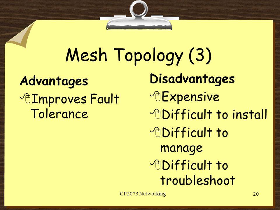 Mesh Topology (3) Disadvantages Advantages Expensive
