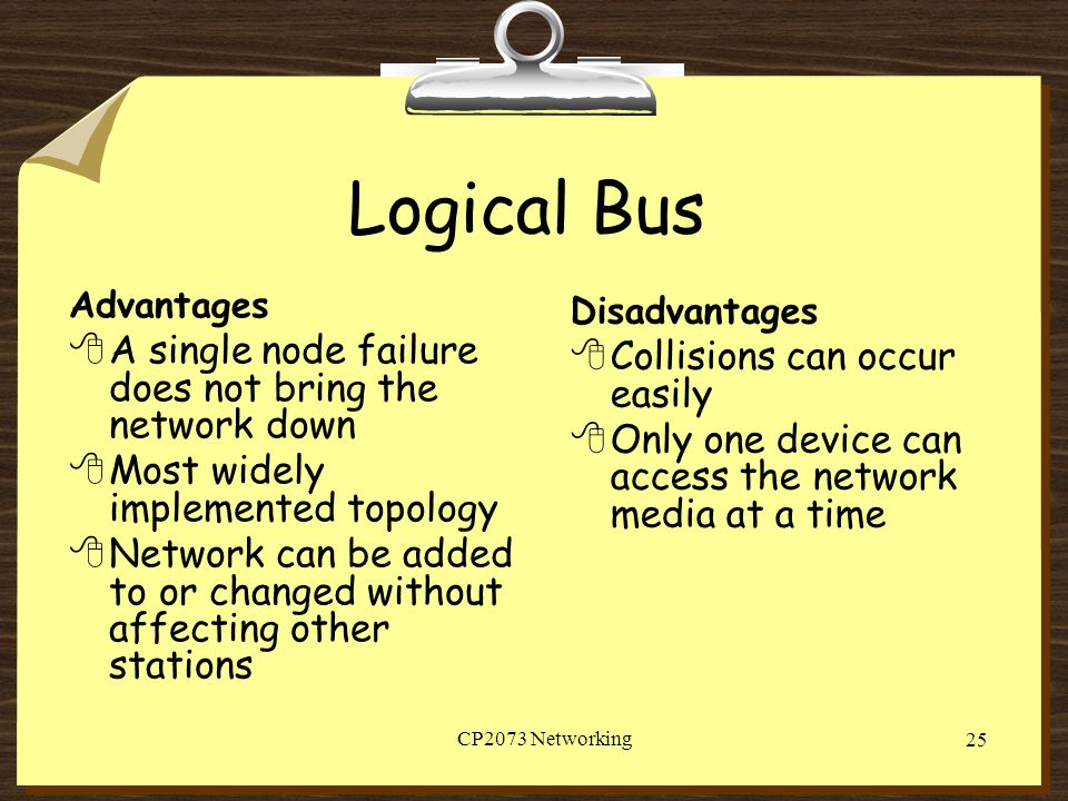Logical Bus A single node failure does not bring the network down