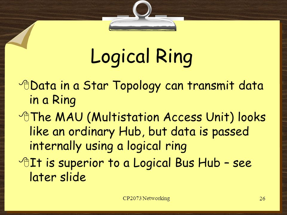 Logical Ring Data in a Star Topology can transmit data in a Ring