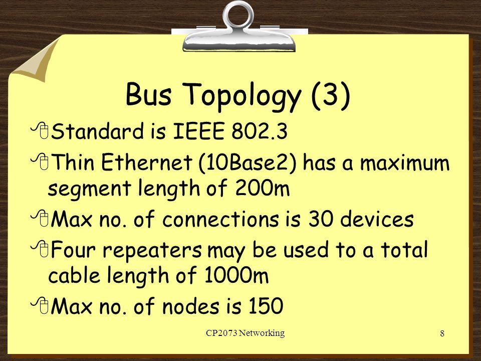 Bus Topology (3) Standard is IEEE 802.3