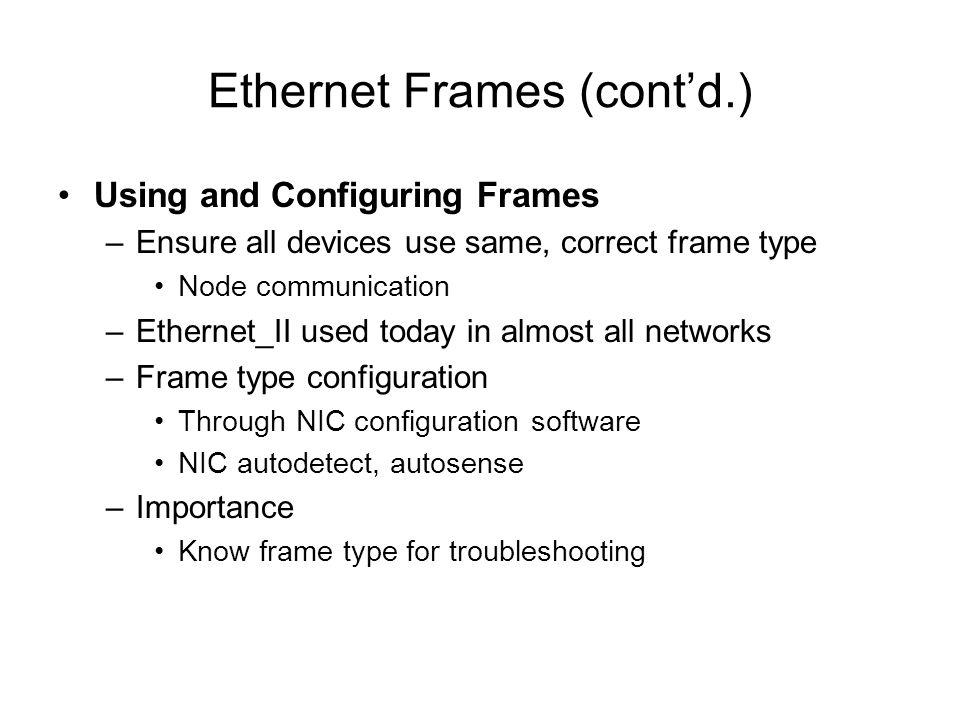 Ethernet Frames (cont'd.)