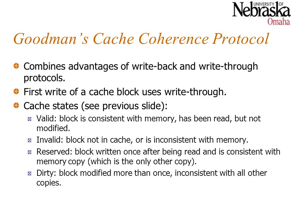 Goodman's Cache Coherence Protocol