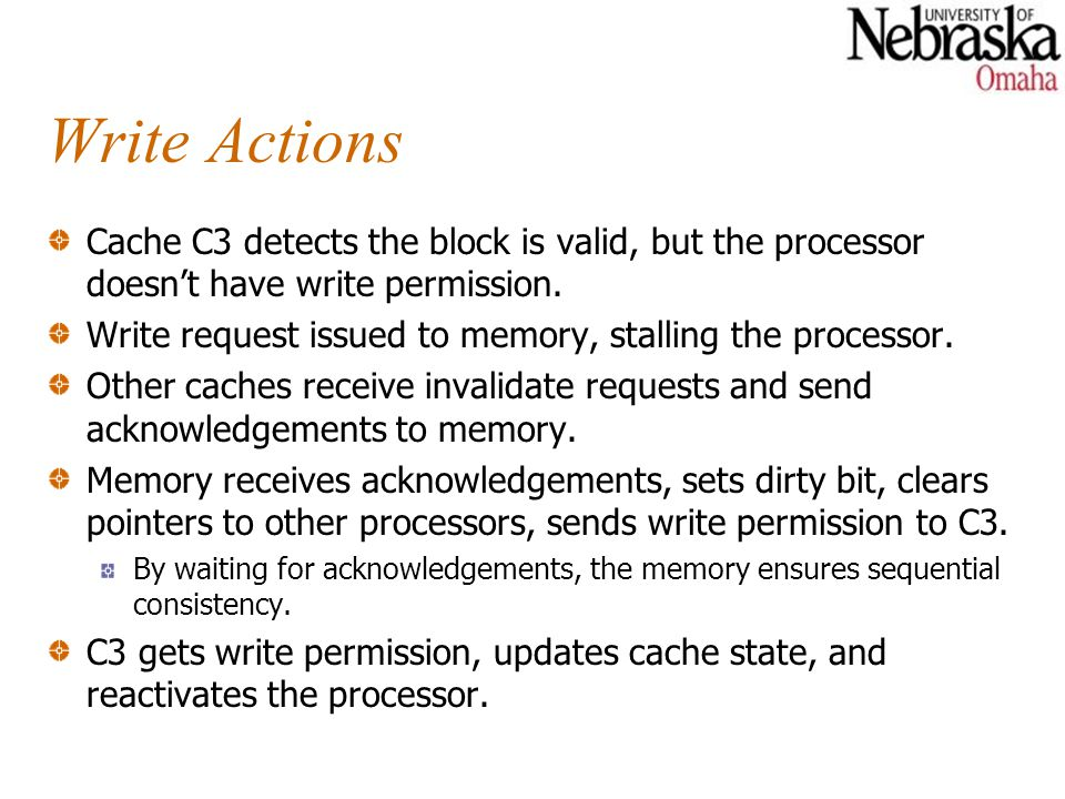 Write Actions Cache C3 detects the block is valid, but the processor doesn't have write permission.