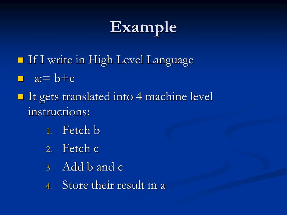 Example If I write in High Level Language a:= b+c