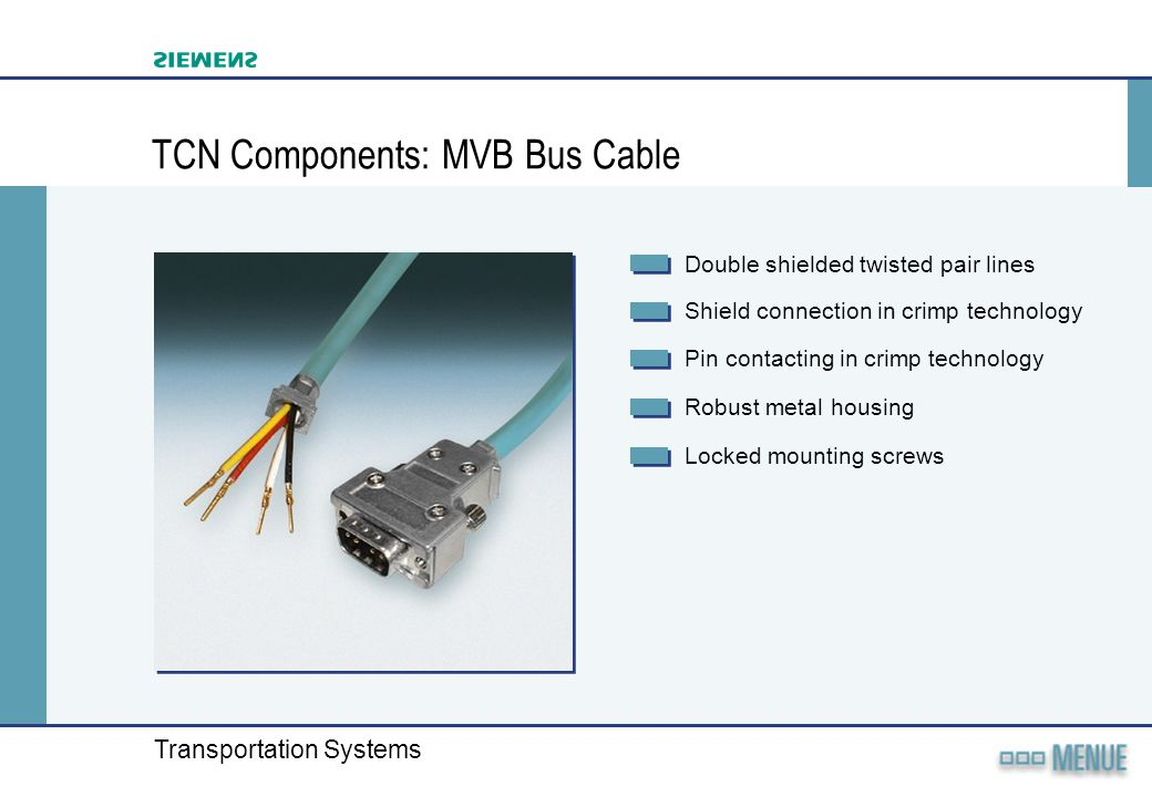 TCN Components: MVB Bus Cable