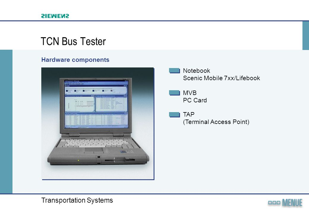 TCN Bus Tester Hardware components Notebook Scenic Mobile 7xx/Lifebook