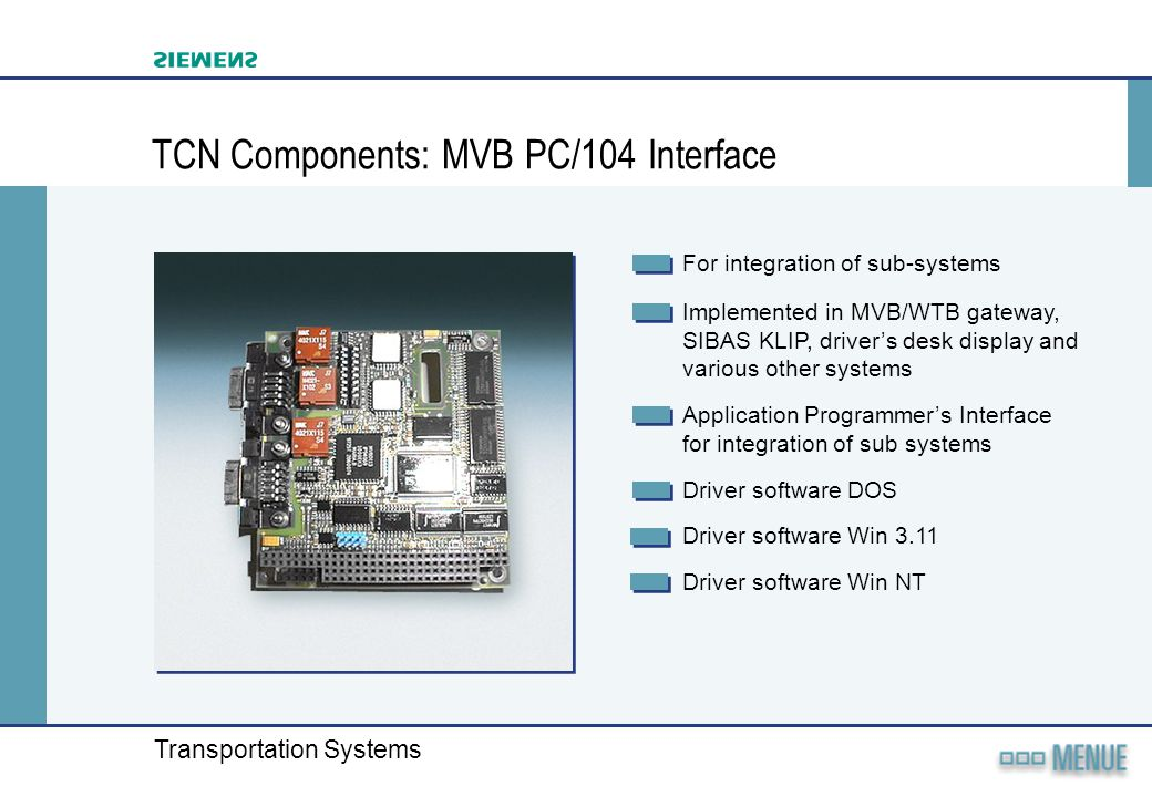 TCN Components: MVB PC/104 Interface