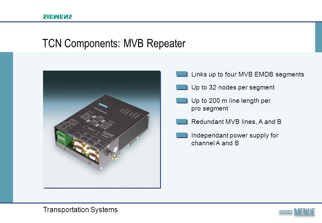 TCN Components: MVB Repeater