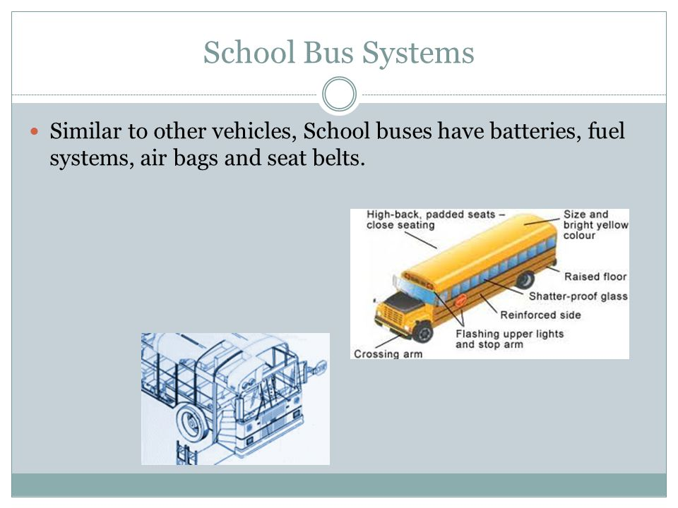 School Bus Systems Similar to other vehicles, School buses have batteries, fuel systems, air bags and seat belts.
