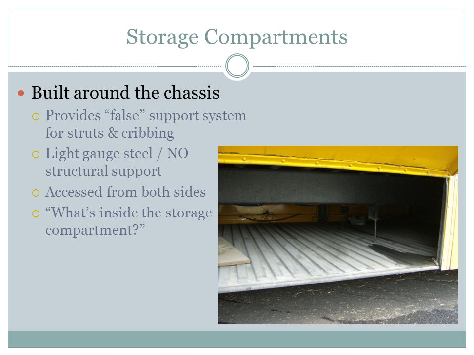 Storage Compartments Built around the chassis