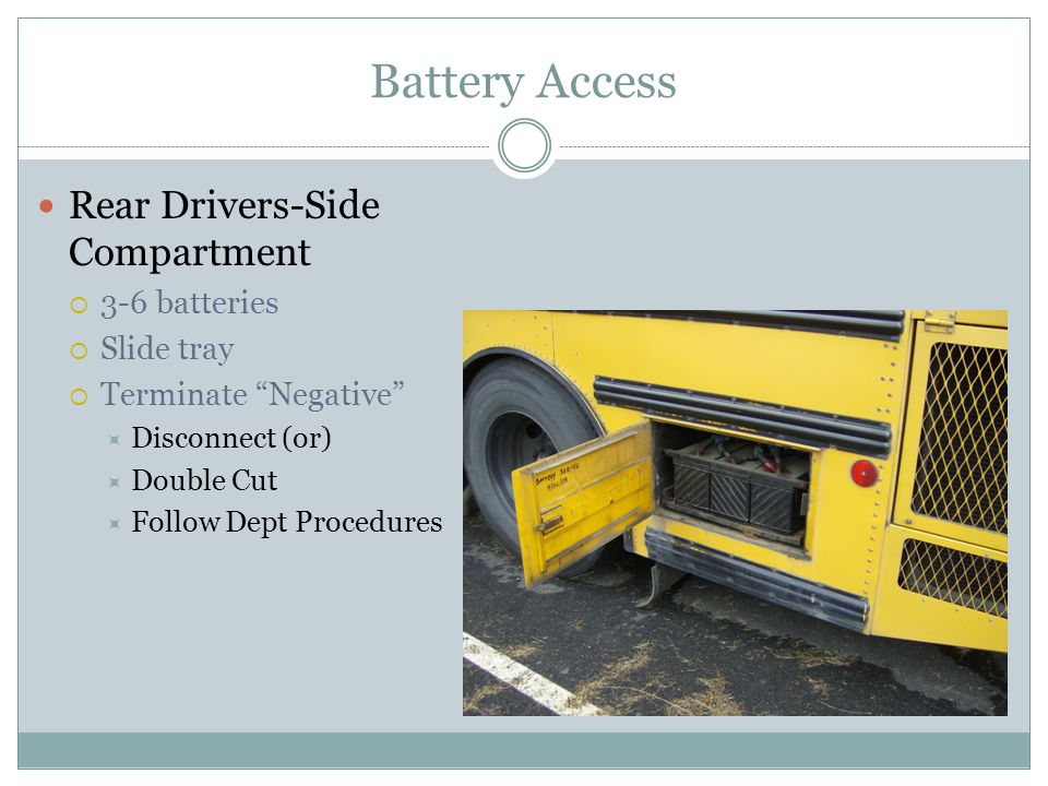 Battery Access Rear Drivers-Side Compartment 3-6 batteries Slide tray