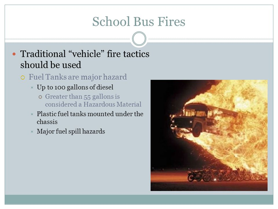 School Bus Fires Traditional vehicle fire tactics should be used