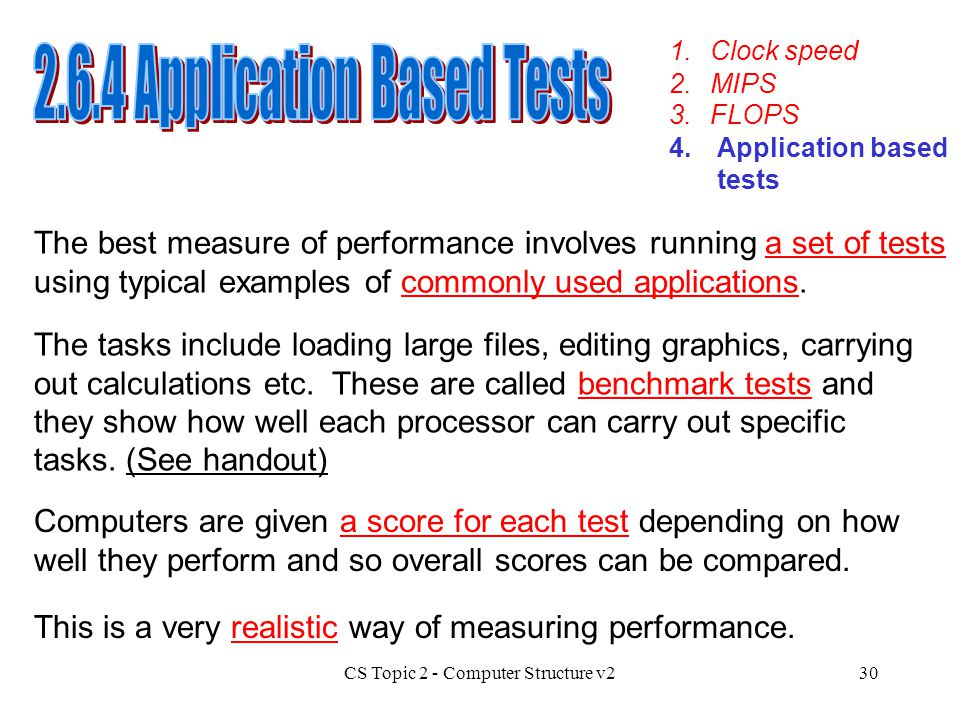 2.6.4 Application Based Tests